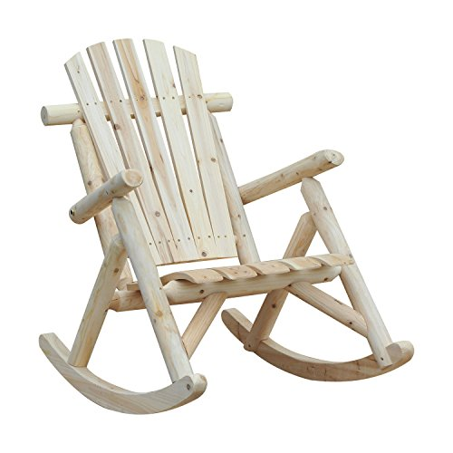 Outsunny Sedia a Dondolo da Giardino, Stile Adirondack in Legno di Abete, Design Ergonomico, Color Legno 66x96x98cm