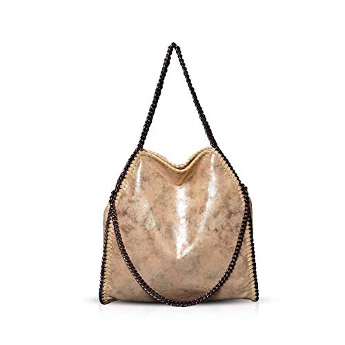 Umhängetaschen für Frauen Damen Kette Umhängetasche Kettentasche Taschen für Damen Casual Handtasche große Hobo Schultertasche(Gold)