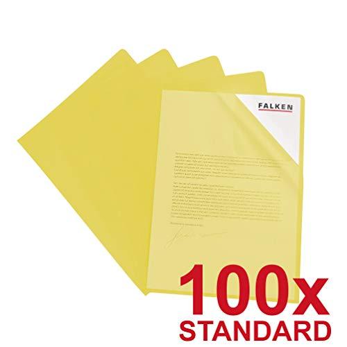 Original Falken 100er Pack Standard PP-Kunststoff Aktenhüllen. Für DIN A4 transparent genarbt gelb oben und seitlich offen Plastikhülle Klarsichthülle für Büro und die mobile Organisation