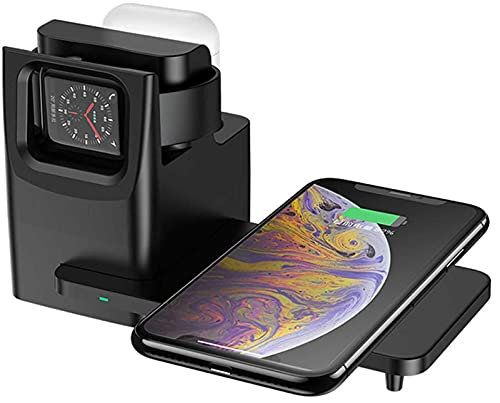 Kettles Muelle de Cargador inalámbrico 10W 3 en 1 Qi Estación de Soporte de Carga inalámbrica Compatible con iPhone 12/12 Pro / 12 Pro MAX / 11/11 Pro MAX/XR/XS MAX/XS/x / 8 Plus/Galaxy S10 / S9