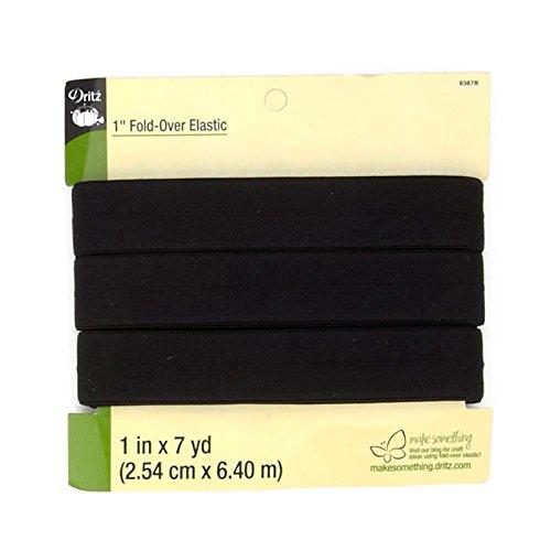 Fold-Over Elastic 1'X7yd-Black