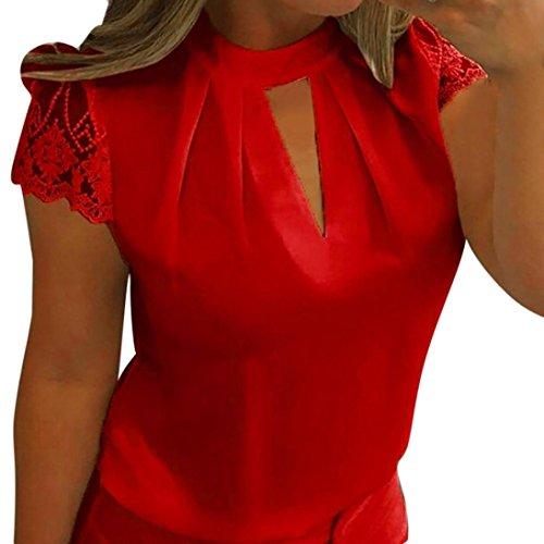 JUTOO Frauen Casual Chiffon Kurzarm Splice Lace Crop Top Bluse(rot, EU:36/CN:S)