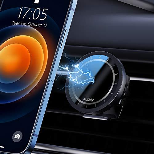 【Verwendung mit Magnet-Telefonhülle】 Auckly Kabelloses Ladegerät Magnet Handyhalterung fürs Auto,Qi 15W Wireless Charger Auto Magsafe-Kompatibilität KfZ Qi Ladestation Auto für iPhone 12/Pro/Max/Mini
