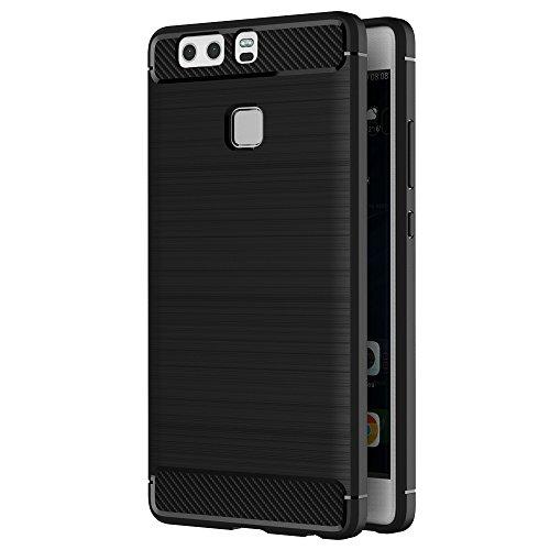 AICEK Coque Huawei P9, Noir Silicone Coque pour Huawei P9 Housse Fibre de Carbone Etui Case