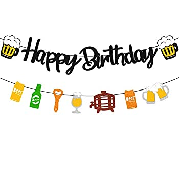 Happy Birthday Banner for Men Cheers for 21st-100th Years Bday Party Backdrop Decoration for Women Adult Him Her Celebrating Birthday Anniversary Event Garland Supplies Pre-Strung