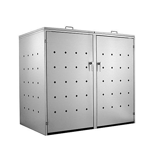 Zelsius Edelstahl Mülltonnenbox für 2 Mülltonnen je 120 und/oder 240 Liter, Mülltonnenverkleidung mit 2 Klappdeckel, Metall Müllbox, abschließbar