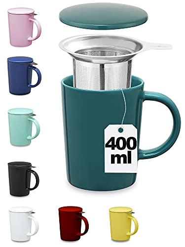 Tasse à Thé avec Infuseur et Couvercle - 400 ml - Céramique - Reste Chaud Longtemps - Bleu-vert