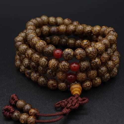 JONJUMP Collar de cuentas de oración de Bodhi Mala de 8 mm, budismo tibetano, 108 mm