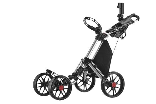 CaddyTek One-Click Folding 4 Wheel Version 3 Golf Push Cart, Silver