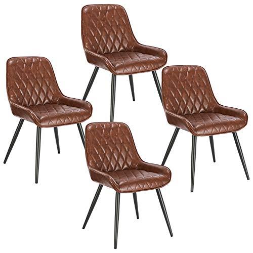 ELIGHTRY 4 Stücke Esszimmerstühle,Retro Küchenstuhl Wohnzimmerstuhl Sitzfläche aus PU Retrostuhl mit Metallbeine Besucherstuhl Stuhl für Esszimmer Wohnzimmer Küche Braun
