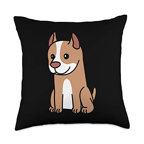 Funny Pitbull Gifts Cartoon Pit Bull Dog Throw Pillow, 18x18, Multicolor