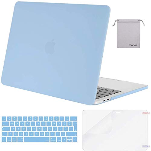 MOSISO MacBook Pro 15 inch Case 2019 2018 2017 2016 Release A1990/A1707, Plastic Hard Shell & Keyboard Cover & Screen Protector & Storage Bag Compatible with Mac Pro 15 Touch Bar, Airy Blue