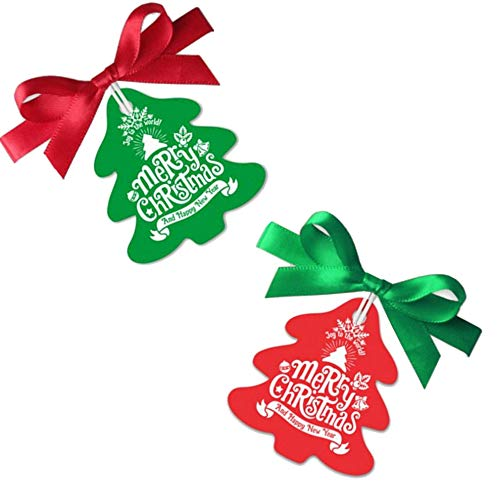 Makhry 100 pak Rood/Groen Kerstboom Cadeaukaartjes met Zijdeachtig Lint voor Kerstmis, Dankzegging Cadeaupapier Tags (Rood&Groen)