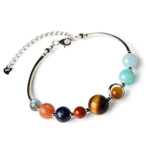 Armband aus 925erSterlingssilber, mit echten Halbedelsteinen als Sonnensystem