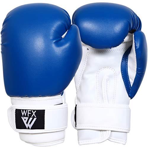 Kinder-Boxhandschuhe für Kampfsport, Sparring, Junior-Handschuhe, strapazierfähiges Leder, MMA-Training, Boxsack, Handschuhe, Schlagsport, Muay Thai, Kickboxen, Jungen und Mädchen (blau, 113 g)