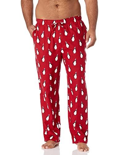 Amazon Essentials Men's Flannel Pajama Pant, Red Penguin Print, Large