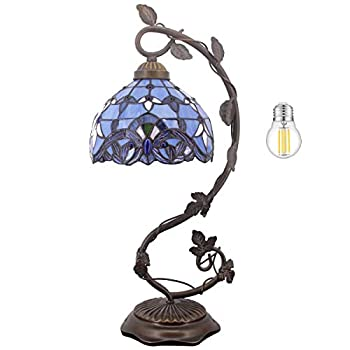 Bedside Table Lamp Stained Glass Lamp Minimalist Tiffany Style Banker Desk Light with Metal Leaf Thin Base for Small Space of Living Room Bedroom Kids Room,Dorm Dresser Office LED Bulb Included