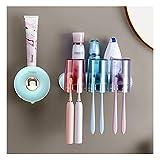 ZANZAN Soporte de Cepillo de Dientes Montado en la Pared con 2-4 Tumblers Baño Soporte de Cepillo de Dientes Automático Dispensador de Pasta de Dientes (Color : Set B+Toothpaste Dispenser)