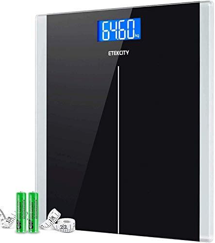 Bilancia Pesapersone Digitale, Etekcity Bilancia Elettronica con Sensori di Alta Precisione, LCD Schermo Retroilluminato, Tecnologia Step-on, Autospegnimento, 180kg/400lb, Nero