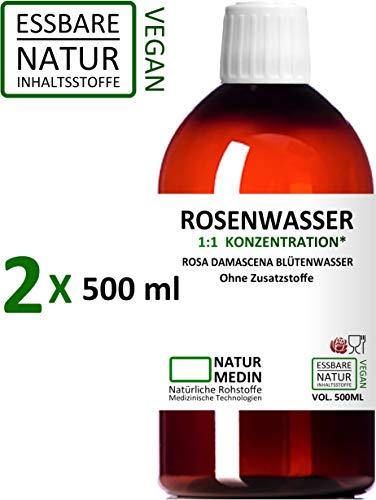 ROSENWASSER 2x 500-ml Gesichtswasser, 100% naturrein, 1:1 Konzentration, Rosa damascena Blüttenwasser, ohne Zusatzstoffe, PET Braunflasche, 1000-ml (1-l), nachhaltig