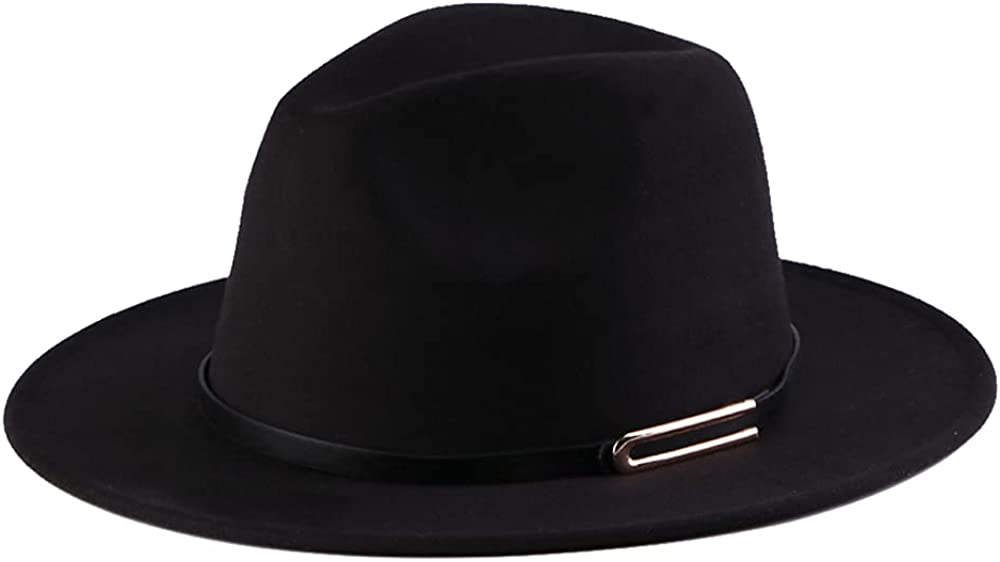 Anycosy Wide Brim Fedora Hats for Women Winter Wool Felt Hat with Belt