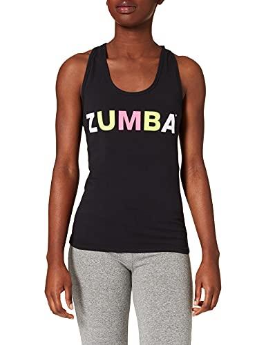 Zumba Atlético Estampado Fitness Camiseta Negra Mujer Racerback de Entrenamiento Top Deportivo Tank Tops, Black to Basic, X-Small Womens