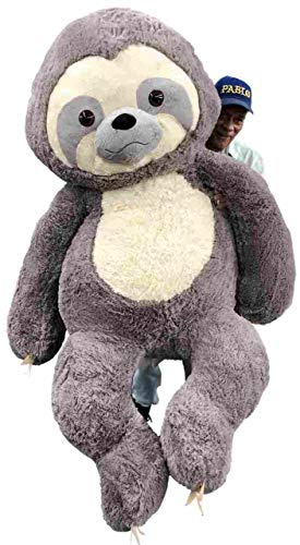 Big Plush Giant Stuffed Sloth 7 Feet Tall 84 Inches Soft 213 cm Big Plush Huge Stuffed Animal Gray Color