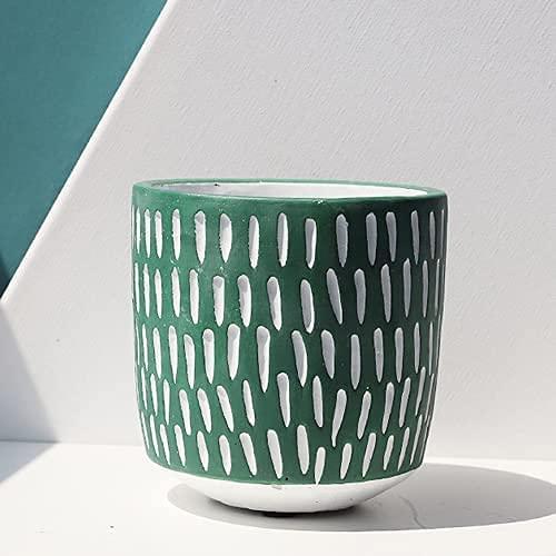 TREEECFCST Macetas De Ceramica Macetero Línea Maceta de Cemento Maceta de jardín a Rayas Simple Suculenta Maceta de Escritorio Jardinería Interior 915(Size:Medium)