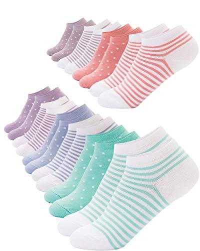 FOOTNOTE I 10 Paar I Sneaker Socken Ohne Gummi Ohne Naht Damen Herren Bunt Pastell Gepunktet Gestreift in 39 40 41 42