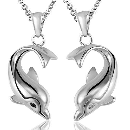 Abellale - Collar de Acero Inoxidable para Hombre y Mujer, diseño de Delfines Defensor del Amor, Color Plateado