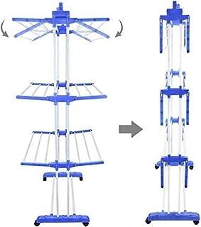 étendoir à linge pliable, sur roulettes, avec double barre de portage vertical