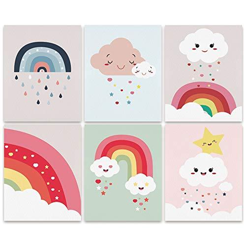 Bestdeal Depot Funny Rainbow Nursey Decor Kids Cartoon Illustrations Modern Art Contemporary Whimsical Multicolor Pastel Kid Room Unframed Poster Set of 6, 8 x 10 inches