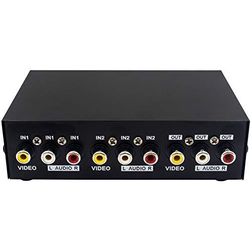 Duttek 2 Port Cinch Umschalter Audio umschalter av Switch 2 In 1 Out Composite Video L / R Audio-Auswahlbox für DVD STB Spielkonsolen