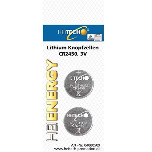 HEITECH 2er Pack CR2450 Lithium Knopfzellen Batterie TÜV geprüft - 3V Knopfbatterien auslaufsicher & mit Langer Haltbarkeit
