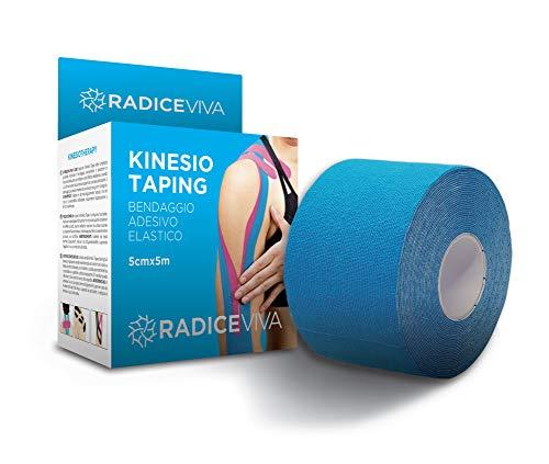 RADICEVIVA Kinesio - Cinta adhesiva elástica muscular para kinesiotherapy, 5 cm x 5 m, descargable con instrucciones de uso (idioma español no garantizado), ideal para atletas y deportes (color azul)