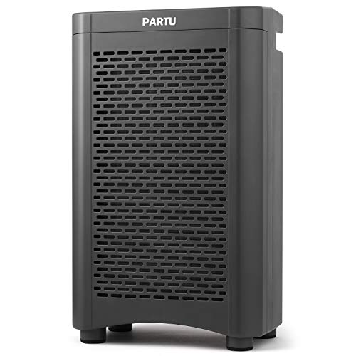 PARTU Air Purifier True HEPA Filter for Large Room with 28dB, Air Cleaner for Dust, Pollen, Pet Hair, Mold, Eliminate Odor & Relieve Allergies Symptom, Child - Lock & 4 Timer Modes