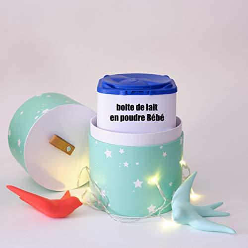Super Idée Cadeau de Naissance Personnalisé Bébé Fille ou Garçon - Boite de Décoration Bébé Etoile - Cache Pot de Lait des Bébés - Mysweetypot - BOITE DE DECORATION ETOILE - CACHE POT DE LAIT (vert)