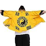 JKGHK Abbigliamento per Arti Marziali Uomini Giapponese Kimono Cardigan - Stile Cinese Giapponese Robes Cardigan Piuma Maglieria Cappotto -Spring/Autunno,Giallo,XXL