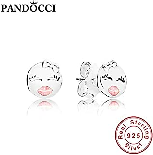 PANDOCCI 100% 925 Sterling Silver 297102EN161 Playful Wink Earring Studs Retro Simple Gorgeous Trend Jewelry Gifts - (Metal Color: Multi)