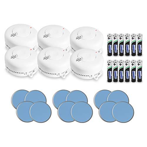 AngelEye 6er Set Rauchmelder – 10 Jahre Batterie Langzeit Lithium Brandmelder/Feuermelder inkl. Magnethalterung DIN EN14604, Weiß