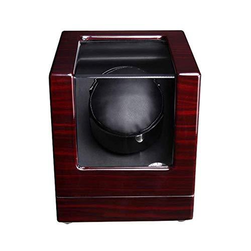CCAN Caja de Reloj Enrollador de Reloj a la 1 en Punto Automático con Motor silencioso 4 Modos de Giro Piano de Madera Lacado Cajas de Reloj de Cuero Presente, Enrollador automático de Reloj