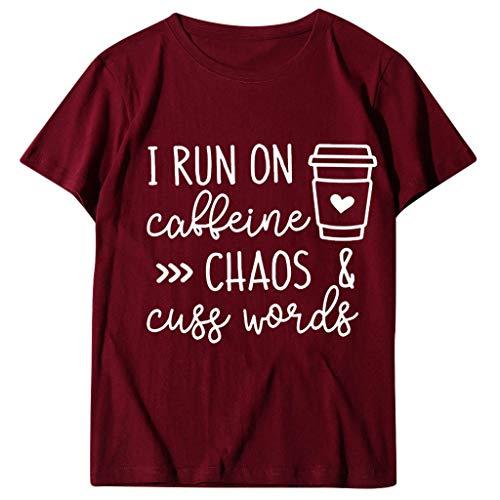 Kaffee Becher Gedruckt Hemd Frauen Kurz Ärmel Briefe Gedruckt Bluse T-Shirt Oben
