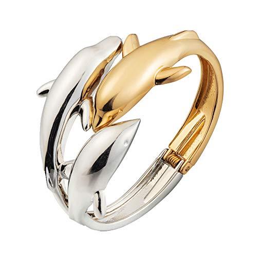 ODETOJOY Delphin Armband Frauen Gold und Silber zweifarbig Ton Manschette Armbänder für Damen Geburtstag Scharnier öffnen Boho Glatte Delfine Liebe Armreif