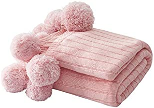 100% Cotton Throw Blankets,Soft and Fluffy Knitted Blanket with Pom Poms,Warm Knitted Cover,for Home Couch,Bed,Sofa,Travel...