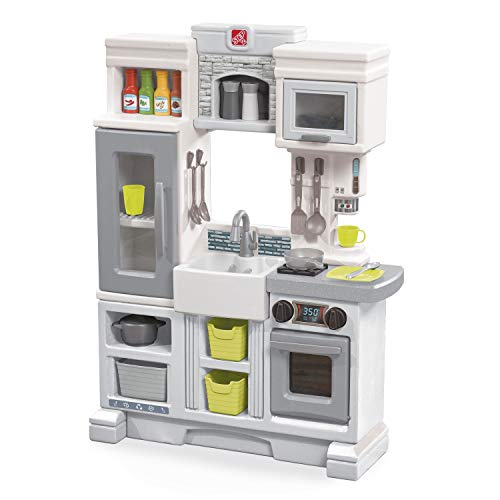 Step2 Downtown Delights Play Kitchen   Kids Kitchen Playset   Kitchen Toy with Realistic Lights & Sounds, Gray