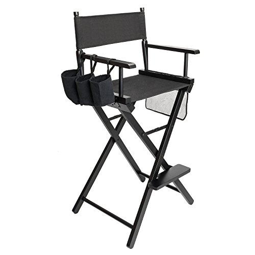 Makeup Telescopic Folding Director Chair, Artist Chair Wood, Max Capacity 115 kg Black
