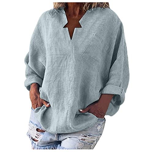 XUJY Blusa de algodón y lino para mujer, para primavera y otoño, manga larga, cuello en V, informal, monocolor, suelta, tallas grandes, camisas, blusas con mangas de murciélago., A2., L