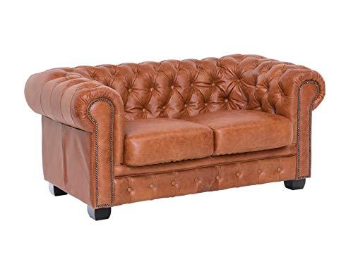 Woodkings® Chesterfield Sofa 2-Sitzer Cracker braun Echtleder Vintage Shabby Couch Bürosofa Polstermöbel 2er antik Unikat Herrenzimmer englisches Ledersofa Stilsofa