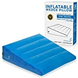Inflatable Bed Wedge Pillow For Sleeping - Plus Pillow Case. Sleep Better With Incline Pillow Wedges For Acid Reflux, GERD, Snoring. Travel Wedge Pillow For Leg Elevation, Knee and Back Support. Large
