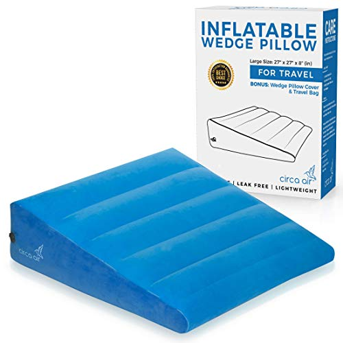 Inflatable Bed Wedge Pillow For Sleeping  Plus Pillow Case Sleep Better With Incline Pillow Wedges For Acid Reflux GERD Snoring Travel Wedge Pillow For Leg Elevation Knee and Back Support Large